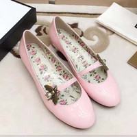 Wholesale Fabric Deco - Free shipping metal bee women's genuine leather mary jane bee pearl deco ballerinas ballet flat with invisible heel