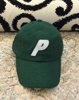 Wholesale Blue Wool Flat Cap - Palace P Logo 6 Panel P6 Dad Hat Cap Wool Green P word Baseball cap fashion high quality golf cap New
