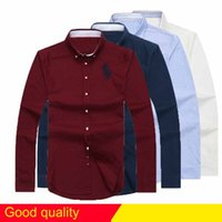 Wholesale Dress Shirts Men - free Shipping plaid lapel men's long sleeved Cotton Shirt Men USA Brand POLO Shirts Fashion 100% Oxford Casual Shirt Small Horse Clothes