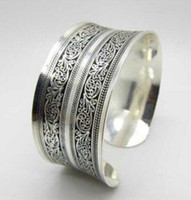 Wholesale Wholesale Tibet Cuff Bracelets - Wholesale-Brand New Vintage Tibetan Tibet silver Totem Bangle Cuff Bracelet Fashion Jewellery For Women Jewelry