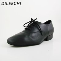 Wholesale TOP Sneakers DILEECHI Real Leather Flats Men s Modern Dance Shoes Ballroom dancing shoes Big size Tango Party Wedding Square dance shoes
