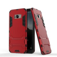 Wholesale Ironman Armor - For iphone 8 Hybrid Armor Iron Man Shockproof Case 2 in 1 TPU+PC Hybrid Silicone Ironman Skin Holder Case for iphone 7 6s for Samsung S8 S7