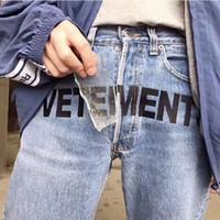 Wholesale Women Embroidered Jeans - 17FW Vetements Embroidered Straight Jeans Men Women Couple Fashion Loose Zipper Trousers Blue Letters Slogans Casual Jeans HFLSKZ010