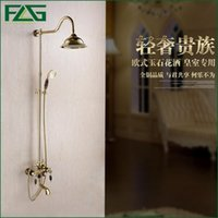 Wholesale Brass Hand Bath Tap - FLG Euro Style Golden Plated Finish Dual Handle Brown Jade Brass Bath & Shower Faucet With Slide Bar With Hand Shower Taps HS034