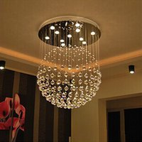 Wholesale modern crystal pendant foyer chandelier - New Modern LED K9 Ball Crystal Chandeliers foyer crystal chandelier LED pendant lights living room light Chandelier Clear Ball Ceiling Light