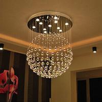 luz de techo clara al por mayor-Nueva Modern LED K9 Ball Crystal Chandeliers foyer araña de cristal LED luces colgantes sala de estar luz de la lámpara Clear Ball Ceiling Light