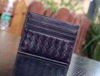 Wholesale Top Cowhide Leather Wallet - Top AAAAA quality famous brand Genuine Leather cowhide wallets men classic Luxury card holders 9011 B V retro woven wooden handle clutch