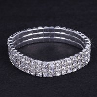 Wholesale Jewelry Pieces China - 12 pieces Lot 3 Row Bridal Wedding Jewelry Elastic Crystal Rhinestone Stretch Gold Bangle Bracelet Wholesale Wedding Accessories for Women
