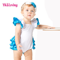 Wholesale Cosplay Wonderland Costume - Ruffle Cotton Baby Girl Rompers Novelty Costume For Kids Lolita Dress Jumpsuit Maid Cosplay Clothes 2pcs Outfit Alice in Wonderland Original