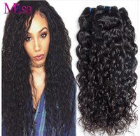 Wholesale Cheap Brazilian Water Wave Hair - Peruvian Virgin Hair water wave 3 or 4 bundles Cheap Brazilian Indian Malaysian Mongolian Hair Bundle Natural Wave Mink Water Wave Curly