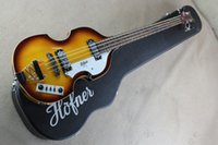 Wholesale Electric Bass Case - Wholesale- free shipping Top Quality Hofner Icon Series Vintage Sunburst Violin Bass Electric Guitar 4 strings bass with hard case