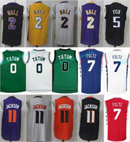 Wholesale 11 Ball - 2017 Draft Jersey 2 Lonzo Ball 7 Markelle Fultz 20 11 Josh Jackson 0 Jayson Tatum White Black Purple Yellow Green Orange Red Blue Stitched