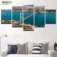 schöne wohnkultur bilder großhandel-Leinwand HD Print Malerei Wand Kunst Modern Home Decor Bild 5 Stück Schöne Bosporus Brücke Landschaft Leinwand Gemälde