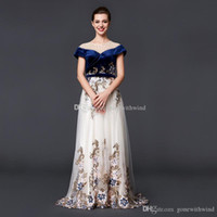Wholesale Short Bandage Skirt - real photos Arab Dubai off the shoulders evening dresses 2018 velvet bodice tulle skirt heavily embroidery crystals beaded evening gowns