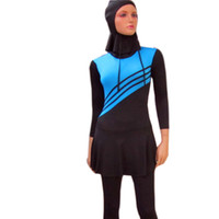 Wholesale Islamic Swimsuit Swimwear - L-5XL Muslim Swimwear women Islamic Swimsuits For Muslima Covered Swimsuits Long Sleeve Beach Wear Plus Size burkini