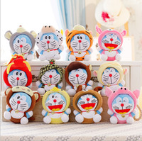 Wholesale Chinese Doll Wholesale - 18cm 12pcs lot Twelve Chinese zodiac Doraemon Super Quality Cute Plush Doll Stuffed Toy Collectible Gift Wedding Gift Kids Toys