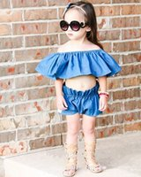 Wholesale Boob Tubes Tops - Mikrdoo Newborn Toddler Kids Baby Girls Boob Tube Top Shorts 2PCS Suit Outfit Fashion Off Shoulder Set Cute Summer Top Jeans Trendy Clothes