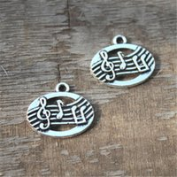 Wholesale Musical Tones - 20pcs--Musical Charms silver tone Terrific Detailing charms pendants 18mm x 21mm x 3mm