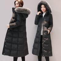 Wholesale women s long snow coat - Long Down Jacket Women Winter Coats Natural Fox Fur Collar White Duck Down Parkas Hooded Thicken Warm Snow Clothes New Arrival