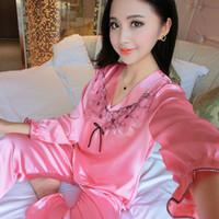 Wholesale Womens Summer Pyjamas - Wholesale- WLK Women Sleepwear 4 Seasons Womens Silk Pajamas Sets Spring Summer Female Flower Satin Pyjamas Sleepwear Loungewear