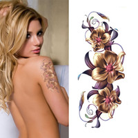 Atacado impermeável Sexy Make Up Body Tattoo Temporário Tattoo Stickers Chinese Orchid Flower Designs tatuagem Decalques