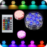 Wholesale Led Underwater Lights Battery - Led Waterproof Submersible Light 10-LED RGB High Brightness Decoration lamp Underwater Colour Changing Lights AA Battery with Remote Control