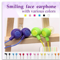 Wholesale Ipad Mp4 Mp3 - Earphone 3.5mm In Ear Wired 10 Colors To Choose Fruit Smile Headphones Headset Earbuds Compatiable With Smartphone For iPad iPhone MP3 MP4