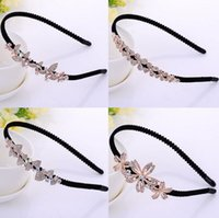 Wholesale Ladies Order Bow - High quality New bow diamonds non-slip hair hoop ladies head hoop jewelry TG018 mix order 30 pieces a lot