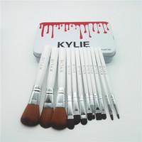 Wholesale Professional Brush White - Kylie Makeup Brushes 12 pcs  set Professional Eyeshadow Brush Set Foundation Powder Beauty Tools Cosmetic Brush Kits with Retail Box