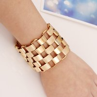 Wholesale Vintage Chain Maxi - 2017 Fashion Punk Gold Color cuff Bracelet Maxi Simple Vintage Ethnic Joker Stainless Steel Geometric Jypsy Bracelets bangle Women Jewelry