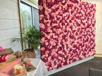 ingrosso muro di giglio-Trasporto libero di SME 10pcs / lot La seta artificiale della rosa e la parete del fiore del giglio wedding la priorità bassa / decorazione del mercato del piombo della strada del pilastro