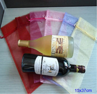 Wholesale Organza Bottle Bags - Wine Bottle Organza Bag 15x36cm ( 6x14inch ) pack of 50 Olive oil Champagne Makeup Gift Packaging Pouch