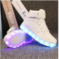 Wholesale Neon Casual Shoes - Led luminous sneakers girls boys casual children shoes high glowing with recharge lights up simulation sole for kids neon basket