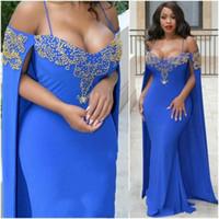 ingrosso usura convenzionale di sera delle signore-Sexy con Wrap Blue Abito da sera con perline Sweet Neck senza spalline Mermaid Abiti da sera lunghi Hot African Formal Dress Lady Wear