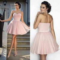 Wholesale Cheap Couture Gowns - Pink Ball Gown Tulle Cocktail Dresses 2018 Short Prom Dress Couture Cheap Graduation Party Short Homecoming Gowns Vestidos De Formatura