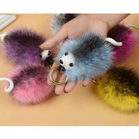 Wholesale Hedgehog Bags - New Fashion Colorful Fur Pom Pom Key Chain Lovely Hedgehog Keychain Faux Fox Fur Bag Car Ornaments Key Ring gifts Wholesale