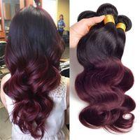 iki ton kırmızı ombre saç toptan satış-Ombre Örgü Saç Demeti Iki ton Renk 1B 99J Bordo Şarap Kırmızı İşlenmemiş Vücut dalga Brezilyalı Perulu Hint Ombre İnsan saç