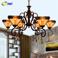 Wholesale Crystal Pendant Lights Artistic - FUMAT Tiffany Creative Vintage Pendant Lights Living Room Brief Crystal Dining Room Artistic LED Stained Glass Pendant Lamps