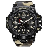 Wholesale Dual Time Gold Black - SMAEL Brand Sport Watches Men Dual Time Camouflage Military Watch Army LED Digital Wristwatch 50M Waterproof S Shock Men Clock Drop Shipping