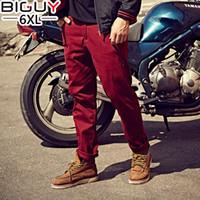 Wholesale Male Fashion Casual Pants - Wholesale- BIG BUY XL-6XL Male Trousers 2016 Autumn Cotton Fashion Casual Pants Men Straight Baggy Pants Men Khaki Black Red Blue 1272