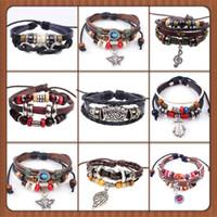 Wholesale Porcelain Owl - new Designs Leather Bracelet Antique Cross Anchor Love Peach Heart Owl Bird Believe Pearl Knitting Bronze Charm bracelets