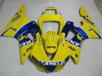 1999 yamaha r1 carenados amarillo al por mayor-Kit de carenado de plástico ABS para yamaha YZF R1 98 99 carenados azul amarillo conjunto YZF R1 1998 1999 IY28