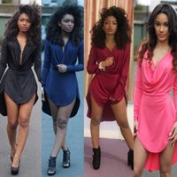 Wholesale Ladies Tight Dresses - New best-selling fashion casual ladies deep V collar sexy tight waist long sleeved irregular dress 5 colors S-XLcm
