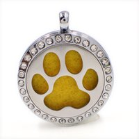 Lockets America Unisex XX068 Dog Hand Print Perfume Aromatherapy Essential Diffuser Locket Alloy Crystal 30mm Hollow locket Silver Free Felt Pads BestBirthday Gift