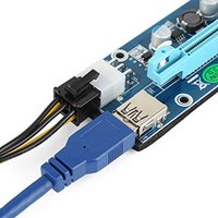 Wholesale Pci Firewire Usb - PCI-E PCI Express Riser VER 006C 6-Pin Powered 1X to 16X PCIE USB 3.0 Adapter Card With USB Extension Cable and GPU Graphic Card Crypto Curr