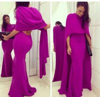 Wholesale Yellow High Collared Dress - Fuschia Chiffon Mermaid Arabic Evening Party Dress With Cape 2016 Sexy Backless Plus Size Formal Prom Occasion Gown Vestidos De Novia Cheap