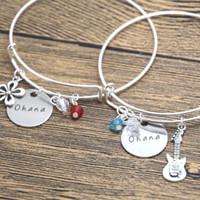 ingrosso bracciali di amicizia fiore-Braccialetto di amicizia di Ohana 24pcs / lot fascino di Ukulele fiore hawaiano migliore amico braccialetto della sorella della famiglia.