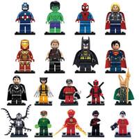 hulk blok setleri toptan satış-9 adet / lot Minifigure Süper Kahramanlar Avengers Iron Man Hulk Batman Wolverine Thor Yapı Taşları Mini rakam DIY Tuğla Oyuncak Setleri