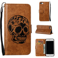 Wholesale Iphone 5s Cases Skull - For Galaxy S8 Plus Vintage Skull Wallet Leather Slim Case TPU For iphone 6 5S Flip Skeleton Embossing Cover For iphone 7