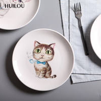 Wholesale Ceramic Dinnerware Tableware Porcelain - Cartoon Cat Ceramic Dinner Plates Porcelain Dishes Saucer Plate Rice Noddle Dinnerware Fruit Dish Tableware Plate 4 Design Free Shipping XL-